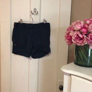 Theory Navy Linen Shorts